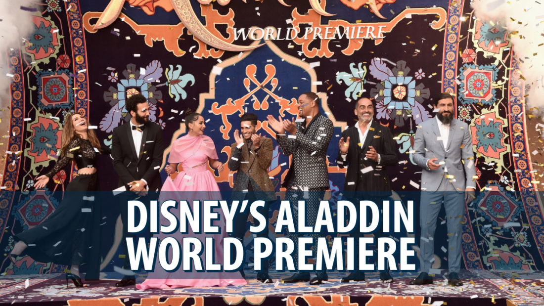 Cast and Crew of Disney's Aladdin Walk Magic Purple Carpet for Hollywood World Premiere